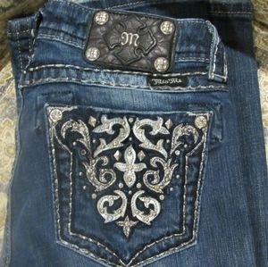 Miss Me Dark Wash Boot Cut Bedazzaled Jeans